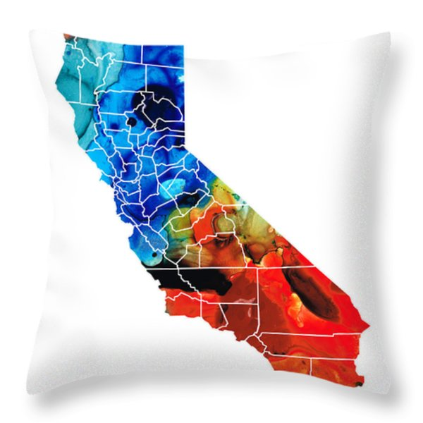 California - Map Counties by Sharon Cummings Throw Pillow by Sharon Cummings