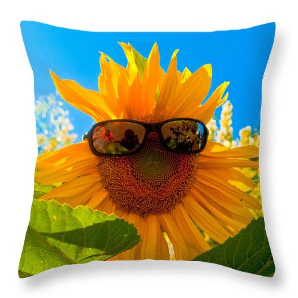 California Sunflower Throw Pillow by Bill Gallagher