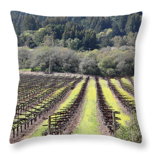California Vineyards In Late Winter Just Before The Bloom 5D22051 Throw Pillow by Wingsdomain Art and Photography