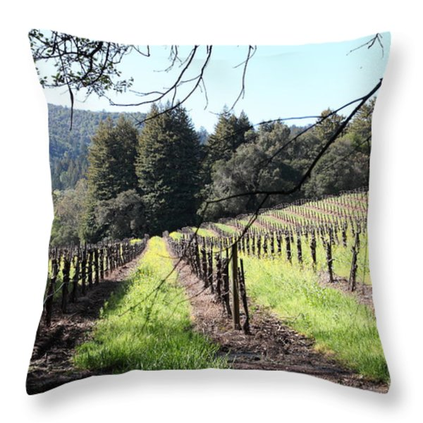California Vineyards In Late Winter Just Before The Bloom 5d22053 Throw Pillow by Wingsdomain Art and Photography
