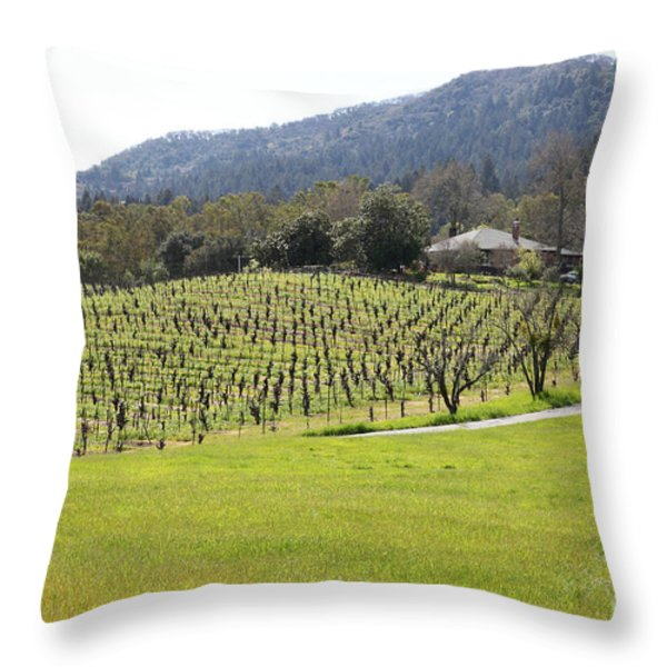 California Vineyards In Late Winter Just Before The Bloom 5d22073 Throw Pillow by Wingsdomain Art and Photography