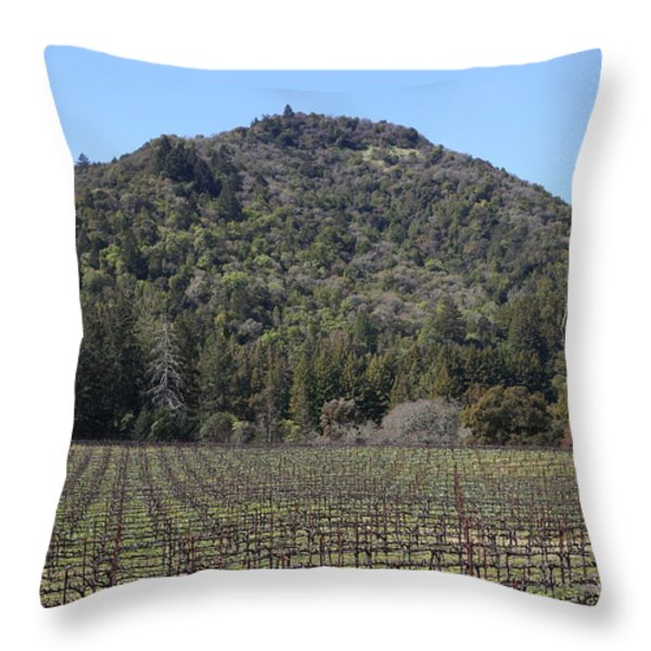 California Vineyards In Late Winter Just Before The Bloom 5D22142 Throw Pillow by Wingsdomain Art and Photography
