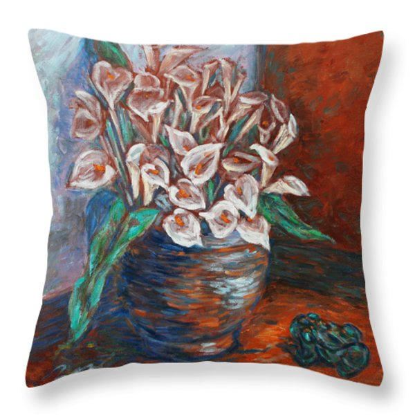 Calla Lilies and Frog Throw Pillow by Xueling Zou