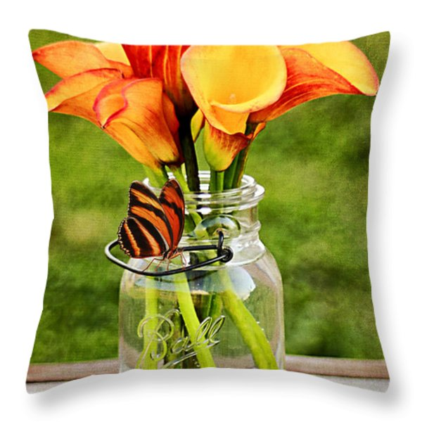 Calla's And The Butterfly Throw Pillow by Darren Fisher