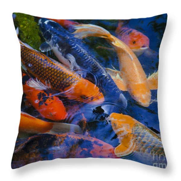 Calm Koi Fish Throw Pillow by Jerry Cowart