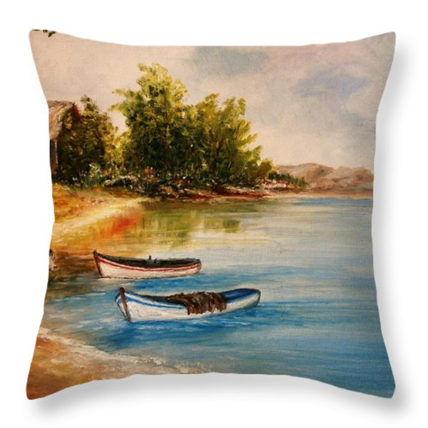 Calm Nature Throw Pillow by Constantinos Charalampopoulos