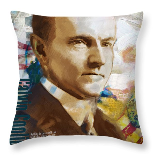 Calvin Coolidge Throw Pillow by Corporate Art Task Force