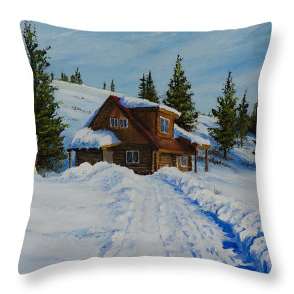 Cambridge Cabin Throw Pillow by C Steele