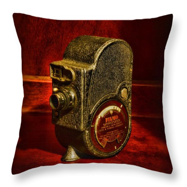 Camera - Bell And Howell Film Camera Throw Pillow by Paul Ward