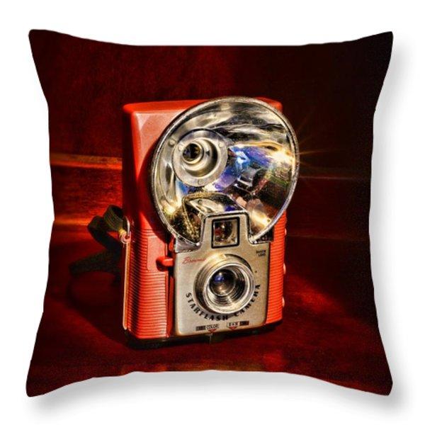 Camera - Vintage Brownie Starflash Throw Pillow by Paul Ward