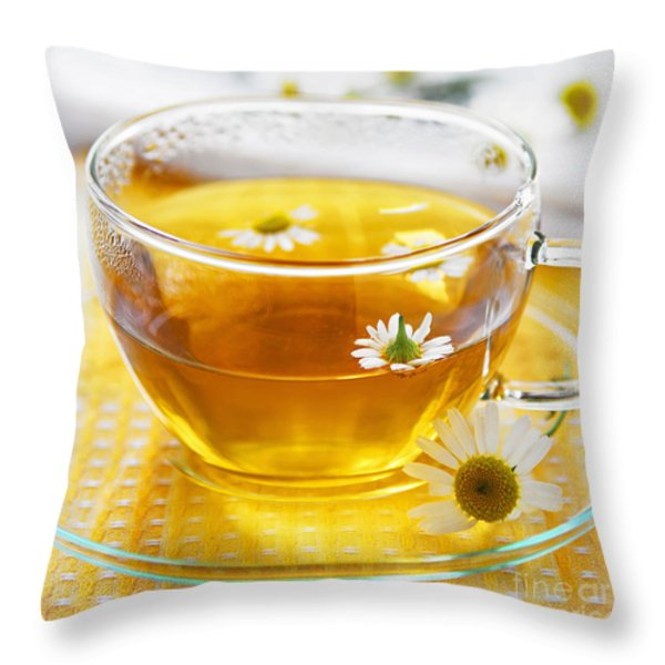 Camomile tea Throw Pillow by Elena Elisseeva