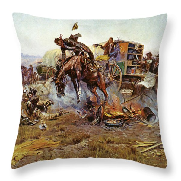 Camp Cooks Trouble Throw Pillow by Charles Russell