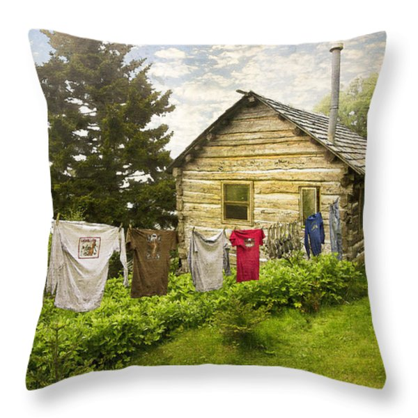 Camp Leconte Throw Pillow by Debra and Dave Vanderlaan