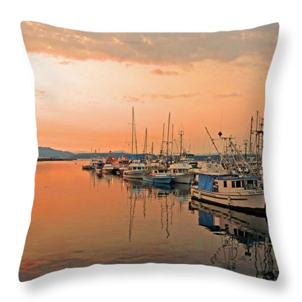 Campbell River Marina Throw Pillow by Nancy Harrison