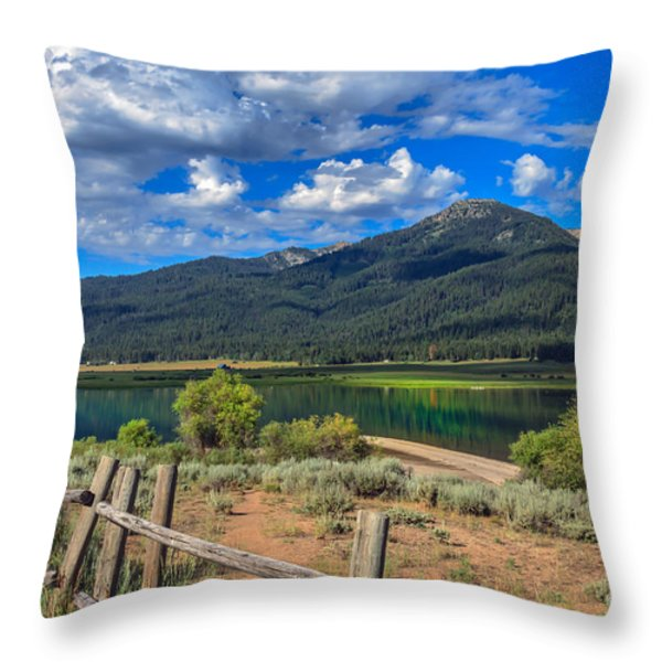 Campground View Of Lake Cascade Throw Pillow by Robert Bales