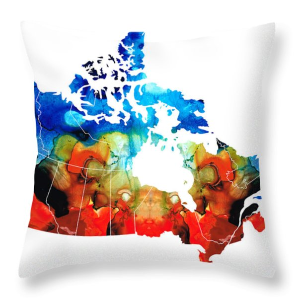 Canada - Canadian Map By Sharon Cummings Throw Pillow by Sharon Cummings