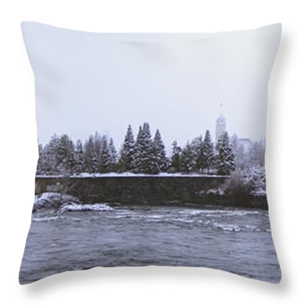 Canada Island And Spokane River Throw Pillow by Daniel Hagerman