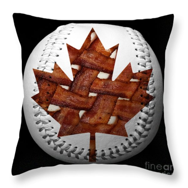 Canadian Bacon Lovers Baseball Square Throw Pillow by Andee Design
