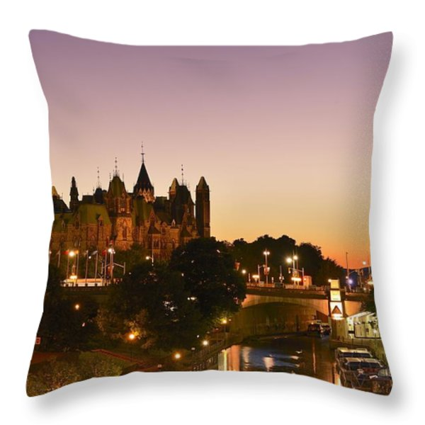 Canadian Parliament Buildings Throw Pillow by Tony Beck
