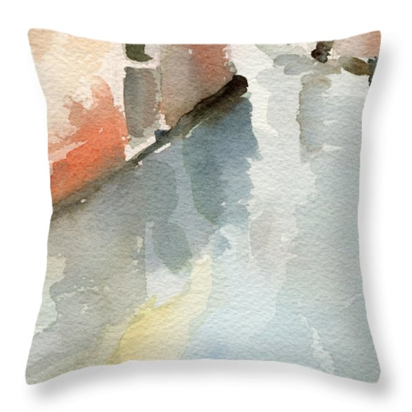 Canal Reflection Watercolor Painting Of Venice Italy Throw Pillow by Beverly Brown Prints
