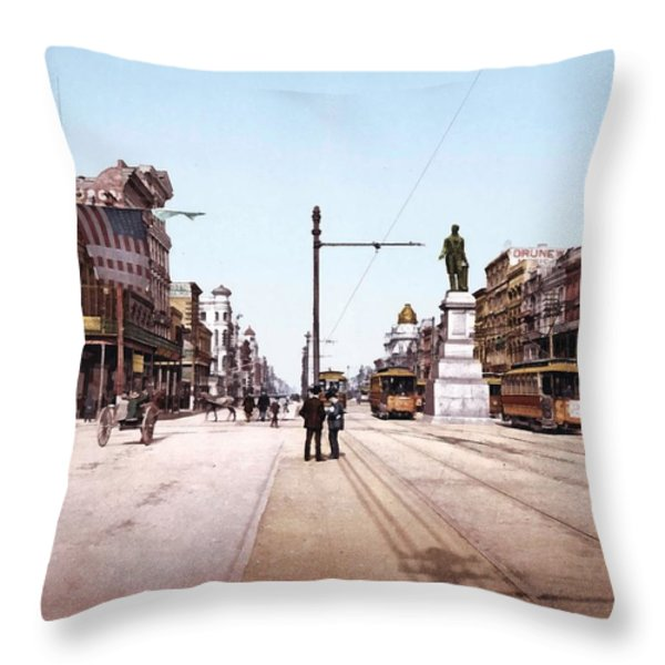 Canal Street New Orleans 1900 Throw Pillow by Unknown