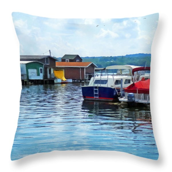 Canandaigua Fishing Shacks Throw Pillow by Susan Savad