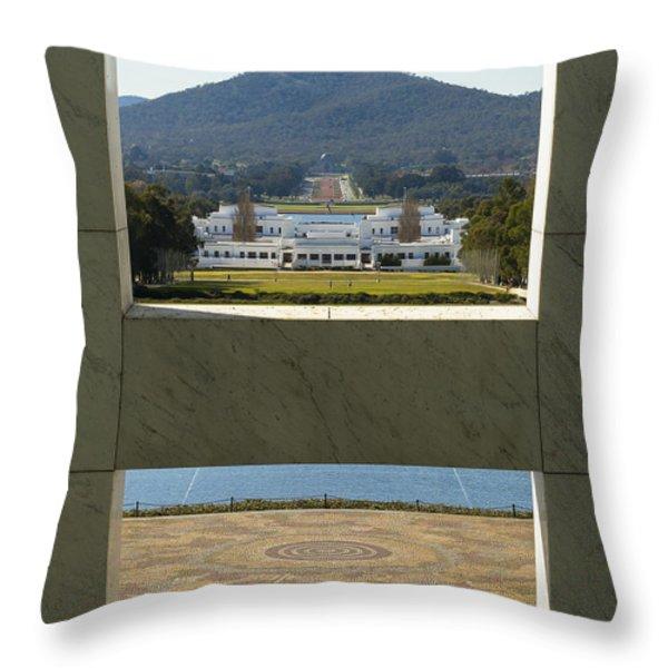 Canberra - Parliament House View Throw Pillow by Steven Ralser