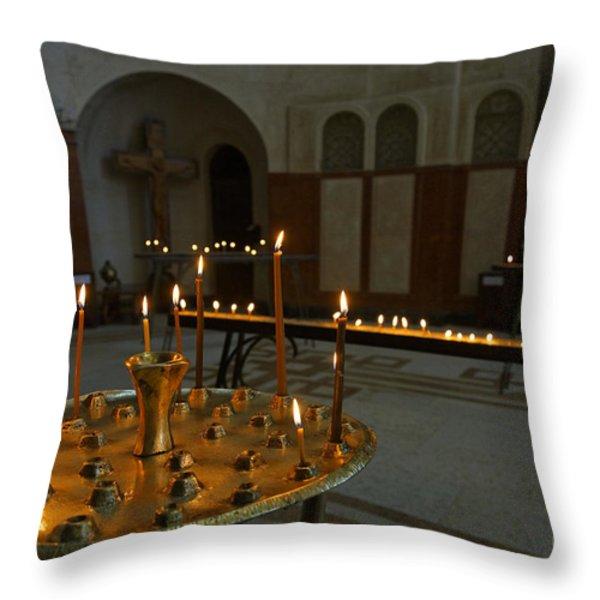Candles Inside The Tsminda Sameba Cathedral Tbilisi Throw Pillow by Robert Preston