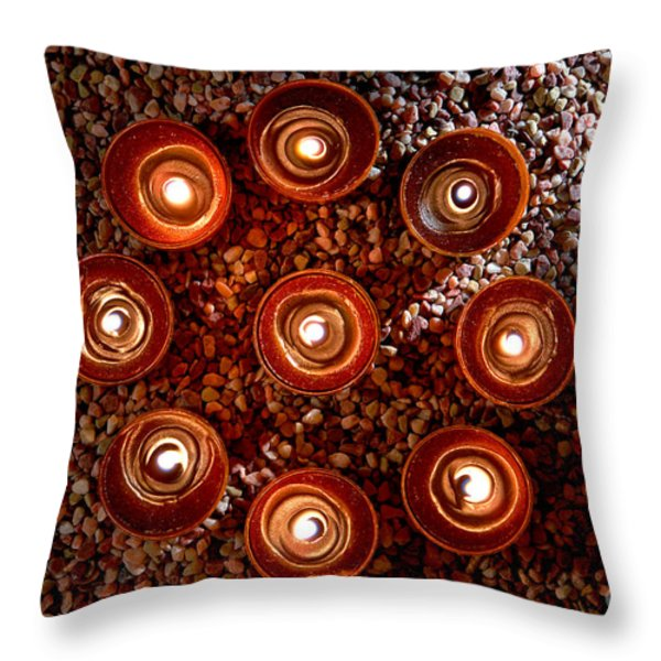 Candles Spiritual Circle Throw Pillow by Olivier Le Queinec