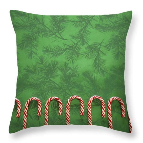 Candy Canes Throw Pillow by Colette Scharf