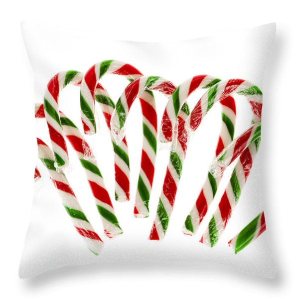 Candy Canes Throw Pillow by Elena Elisseeva