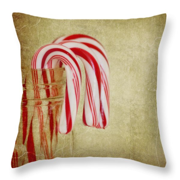 Candy Canes Throw Pillow by Kim Hojnacki