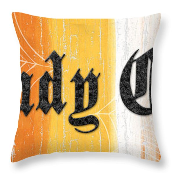 Candy Corn Sign Throw Pillow by Linda Woods