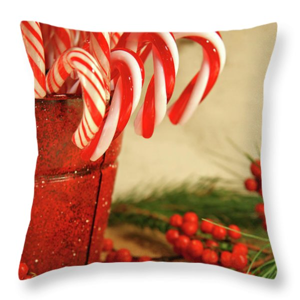 Candycanes With Berries And Pine Throw Pillow by Sandra Cunningham