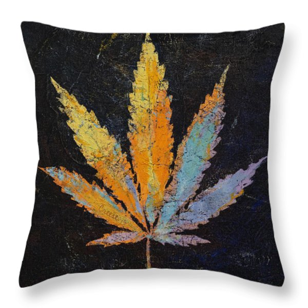 Cannabis Throw Pillow by Michael Creese