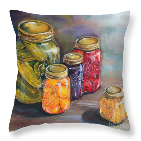 Canning Jars Throw Pillow by Kristine Kainer