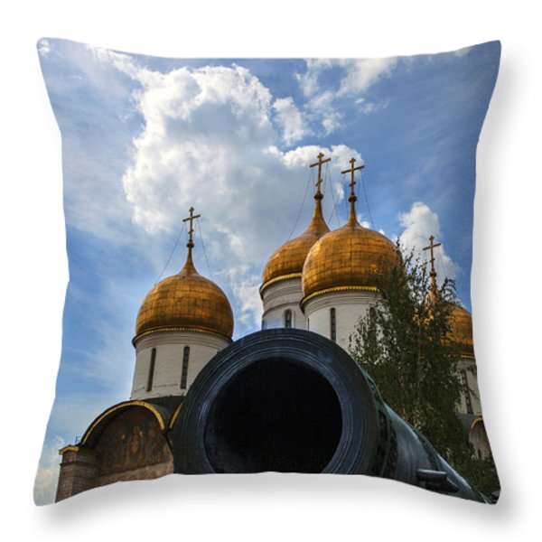 Cannon And Cathedral  - Russia Throw Pillow by Madeline Ellis