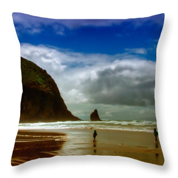 Cannon Beach at Dusk II Throw Pillow by David Patterson