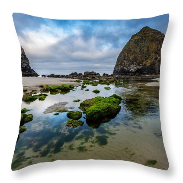 Cannon Beach Throw Pillow by Rick Berk
