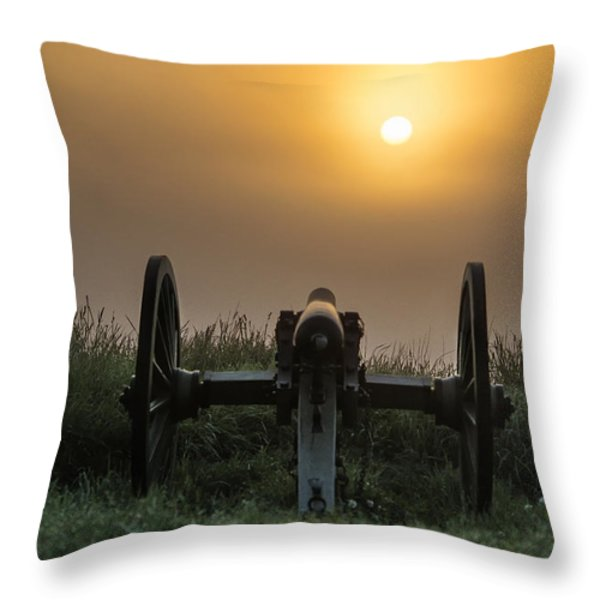 Cannon on Cemetery Hill Gettysburg Throw Pillow by John Greim