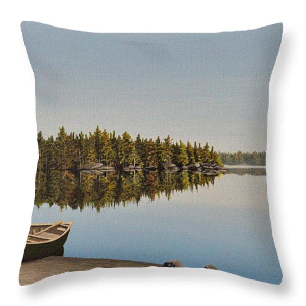 Canoe The Massassauga Throw Pillow by Kenneth M  Kirsch