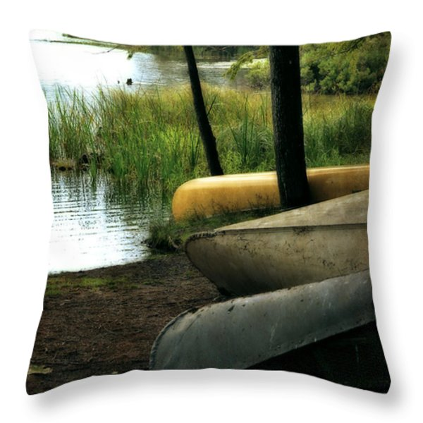 Canoe Trio Throw Pillow by Michelle Calkins