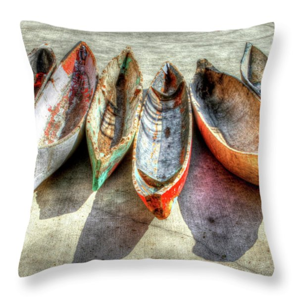Canoes Throw Pillow by Debra and Dave Vanderlaan