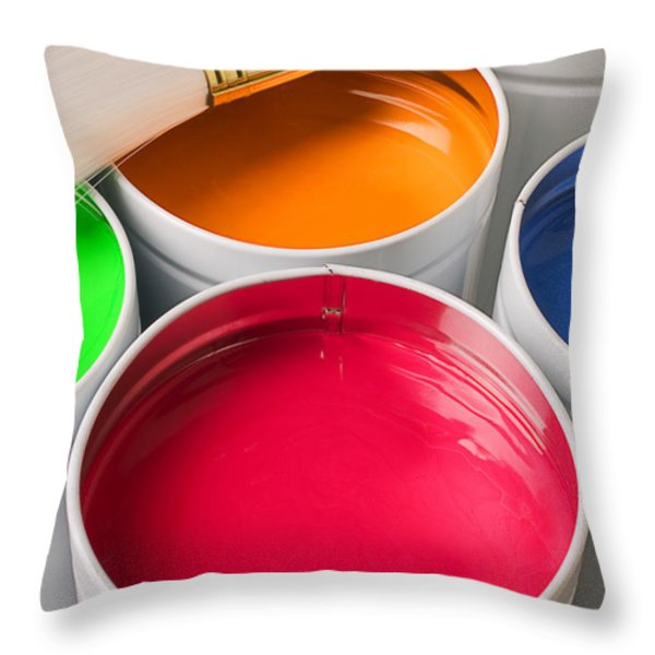 Cans Of Colored Paint Throw Pillow by Garry Gay