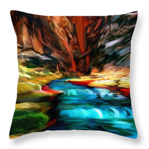 Canyon Waterfall Impressions Throw Pillow by  Bob and Nadine Johnston