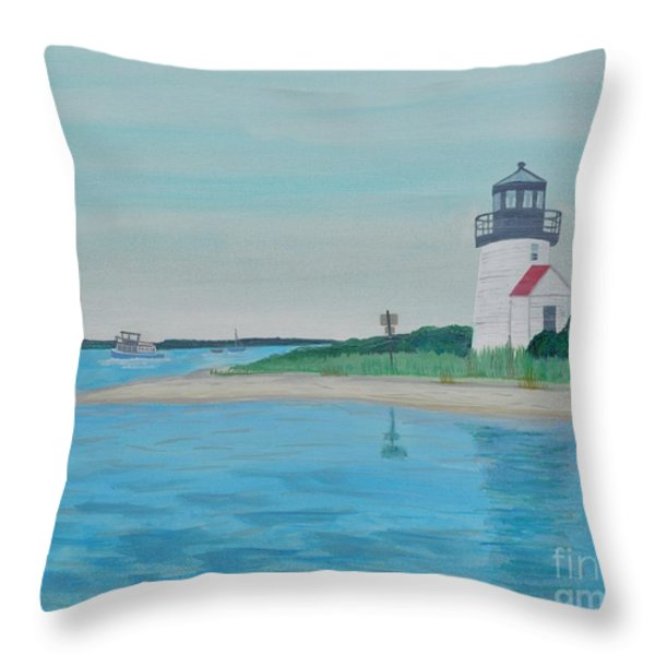Cape Cod Chatham Lighthouse Throw Pillow by Sally Rice