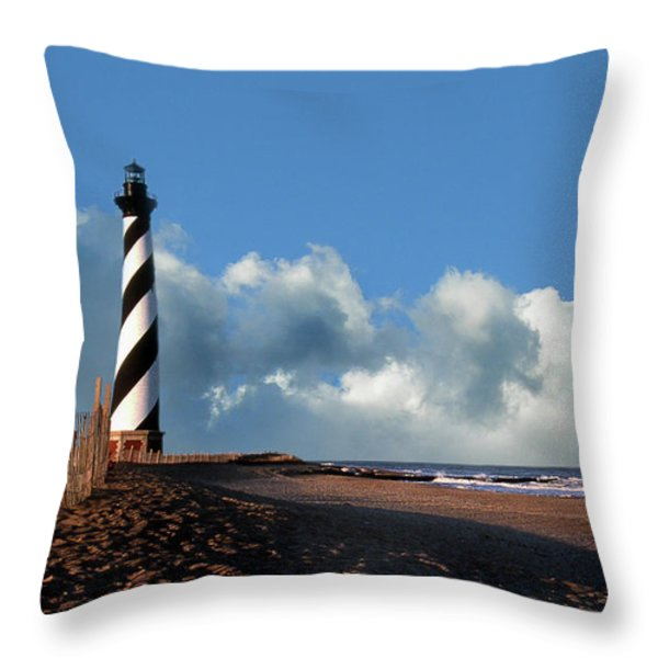 Cape Hatteras Light Throw Pillow by Skip Willits