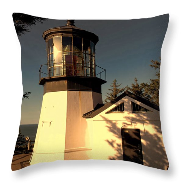 Cape Meares Lighthouse Throw Pillow by Jon Burch Photography