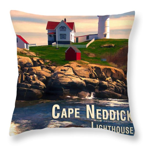 Cape Neddick Lighthouse  At Sunset  Throw Pillow by Elaine Plesser