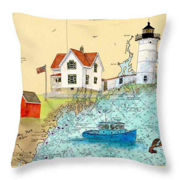 Cape Neddick Lighthouse Me Nautical Chart Map Art Cathy Peek Throw Pillow by Cathy Peek